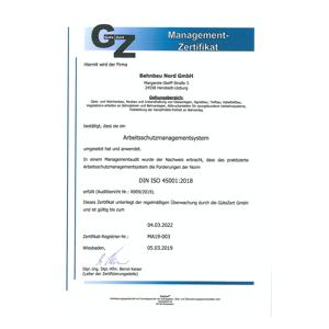 Bahnbau Nord Arbeitsschutzmanagement Zertifikat