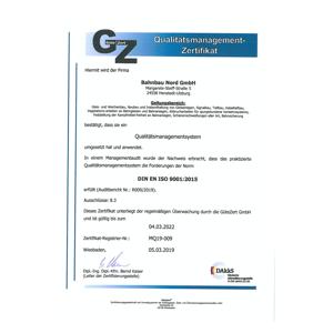 Bahnbau Nord Qualitätsmanagement Zertifikat