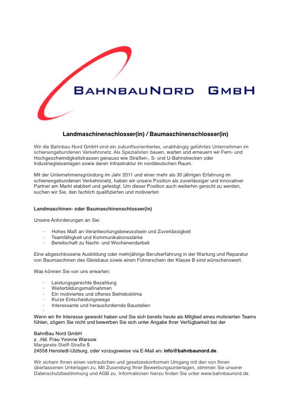 Stellenausschreibung Landmaschinenschlosser(in) / Baumaschinenschlosser(in)