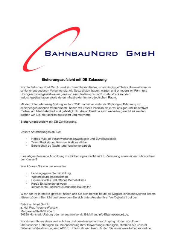Stellenausschreibung Sicherungsaufsicht mit DB Zulassung