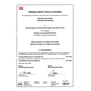 Bahnbaunord BBN-Präqualifikation Oberbau, konven.-Schotter 2020